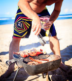 Cooking crayfish on the beach Stock Photos