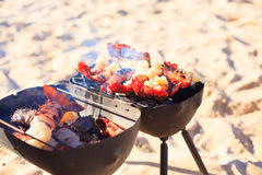 Cooking crayfish on the beach Stock Photo