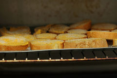 Cooking ,Crispy butter toast by chef. Royalty Free Stock Photography