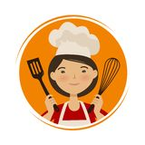 Cooking, cuisine logo. Cute girl in chef hat. Cartoon vector illustration vector illustration