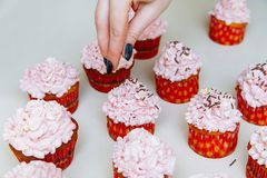 Cooking cupcakes at home. Pink Cream Baking Decoration.  stock photography