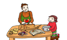 Cooking with daddy. A child  cooks with his father, digital illustration isolated on a white background Royalty Free Stock Photos