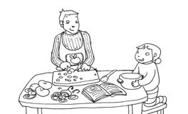 Cooking with daddy black and white. A child cooks with his father; black and white illustration Stock Images