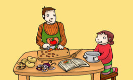 Cooking with daddy color. Illustration of a child who cook with her father. Digital colors Stock Images