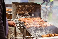 Cooking delicious barbecue on the grill stock photography