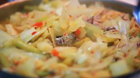 Cooking delicious cabbage with meat stock footage