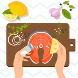 Cooking: Delicious fresh salmon steak with aromatic herbs, lemon and garlic. Vector illustration Stock Photos