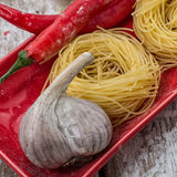 Cooking with delicious Italian pasta Royalty Free Stock Photo