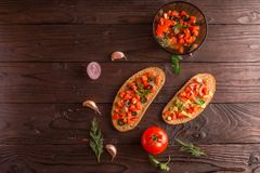 Salad sandwiches, tomato salad with olives and cucumber. Greenery. stock photos
