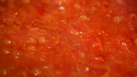 Cooking delicious tomato sauce. Closeup stock video footage