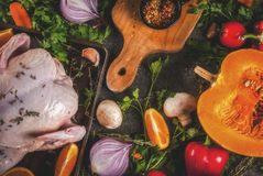 Cooking dinner for christmas, Thanksgiving. Traditional autumn ingredients are vegetables, pumpkin, mushrooms, chicken or turkey, fresh herbs, spices. On a royalty free stock images