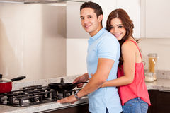 Cooking dinner for my girlfriend Royalty Free Stock Photography