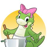 Cooking Dino. Vector illustration of a cute dino cooking in the kitchen Royalty Free Stock Photography