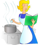 Cooking a dish. Blond woman cooking a dish following the recipe vector illustration