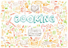 Cooking Doodle Art Style Concept. Editable Clip Art. Illustration of different cooking elements like food, kitchen tools and recipes Stock Image