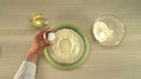 Cooking of dough. First-person view stock video footage
