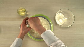 Cooking of dough. First-person view stock video