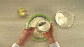 Cooking of dough. First-person view stock footage