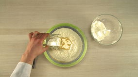 Cooking of dough. First-person view. Cooking of pizza dough. First-person view stock video footage