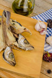Cooking dried fish Royalty Free Stock Images