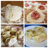 Cooking dumplings with meat Stock Photography