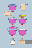 Cooking dumplings.  Vector instruction in Picture Cooking dumpli Royalty Free Stock Image