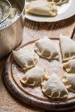 Cooking dumplings with wild mushrooms Royalty Free Stock Images