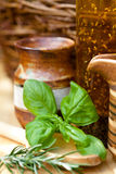 Cooking - Earthenware Jar with Herbs Royalty Free Stock Photos