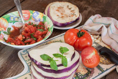 Cooking eggplant with tomatoes recipe Stock Photo