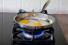 Cooking eggs royalty free stock photo