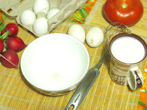 Cooking eggs. Ingredients for cooking omelets for breakfast Stock Image