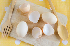 Cooking eggs for preparation Stock Images