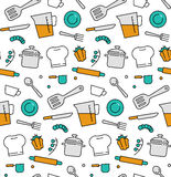 Cooking elements seamless icons pattern Stock Image