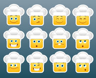 Cooking emoticon smile stickers Royalty Free Stock Photo