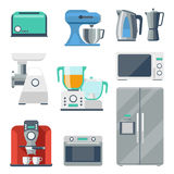 Cooking equipment flat icons set Stock Image