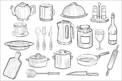 Cooking equipment set, kitchen utensil icons hand drawn vector illustration. Isolated on white background royalty free illustration