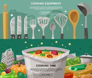 Cooking Equipment And Time Banners Set Stock Images