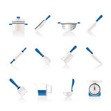 Cooking equipment and tools icons Stock Images