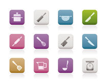 Cooking equipment and tools icons Royalty Free Stock Photography