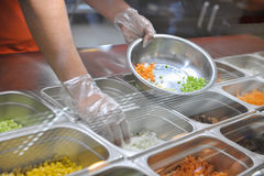 Cooking in fast food restaurant royalty free stock photos