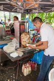 Cooking fast food shawarma outdoors in the park on the Tatar holiday Sabantuy stock images