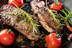 Cooking a fillet steak food photography recipe idea. stock images
