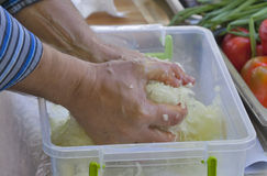 Cooking of finely chopped onion Stock Image