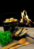 Cooking on the fire of hiking products Stock Photography