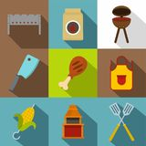 Cooking on fire icon set, flat style. Cooking on fire icon set. Flat style set of 9 cooking on fire vector icons for web design Royalty Free Stock Photos