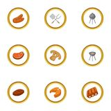 Cooking on fire icons set, cartoon style. Cooking on fire icons set. Cartoon style set of 9 cooking on fire vector icons for web design Stock Image