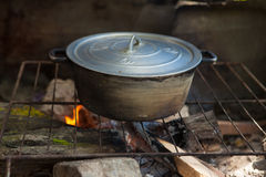 Cooking on fire Royalty Free Stock Photography