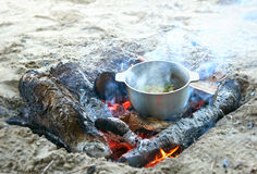 Cooking on fire at picnic, food prepared in kettle on wood, potatoes and tomatoes, healthy vegetarian food Royalty Free Stock Photo