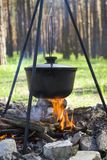 Cooking on a fire at spring. Close view of caldron over the campfire. Pot over the fire in the forest. Cooking on a fire. Spring camping concept. Opening of the royalty free stock photos