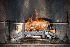 Cooking on fireplace Royalty Free Stock Photo